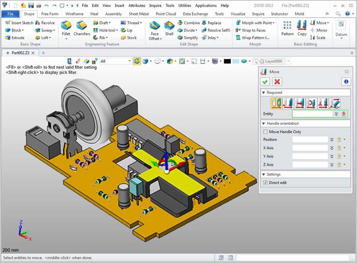 Płynna i szybka (SmoothFlow) edycja modelu CAD