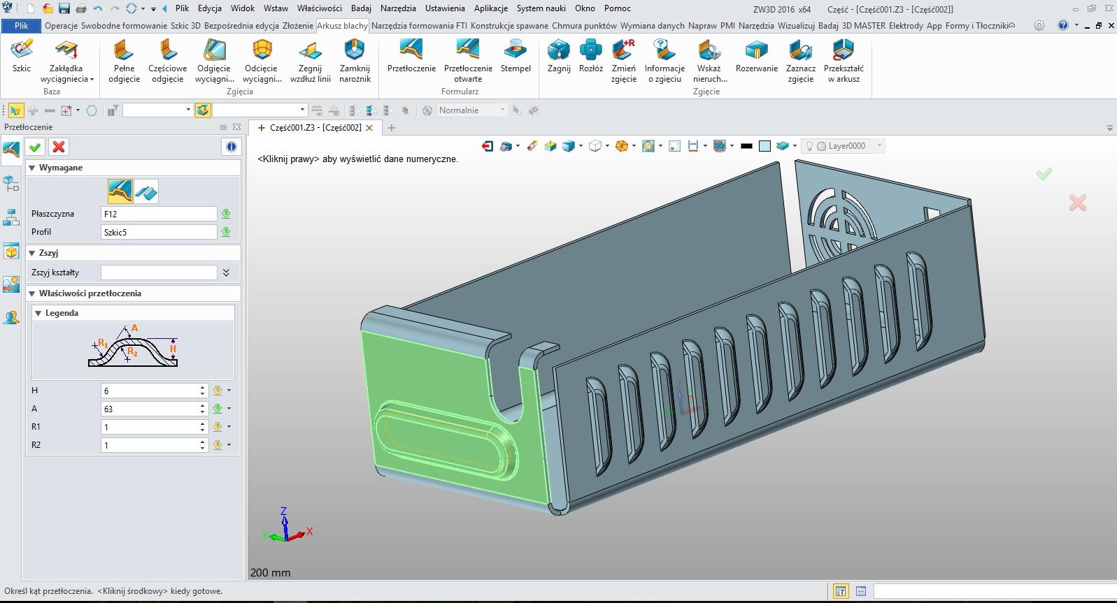 Arkusze blach w ZW3D CAD/CAM - przetłoczenia