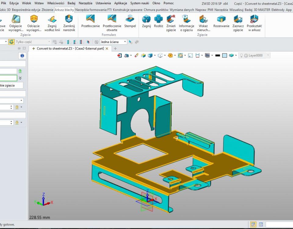Arkusze blach w ZW3D CAD/CAM - zaznaczanie zagięć