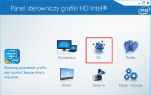 Opcja 3D w panelu sterowania Intel