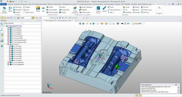 Podział elementów formy w ZW3D CAD/CAM