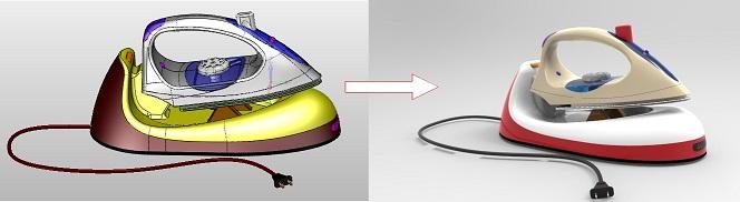 Projekt 3D żelazka ze stacją dokującą po renderowaniu w ZW3D CAD/CAM