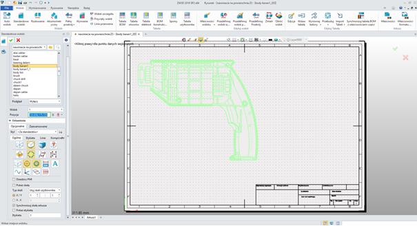 Wybieranie zdefiniowanego widoku do tworzenia dokumentacji 2D w ZW3D CAD/CAM