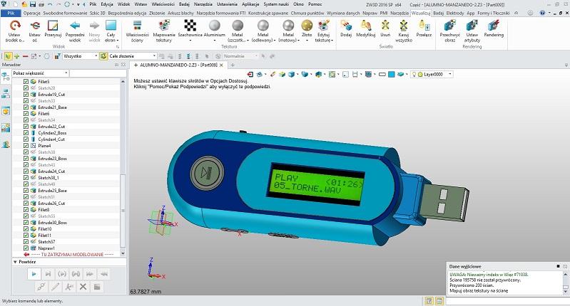 Projekt CAD odtwarzacza mp3 w ZW3D CAD/CAM