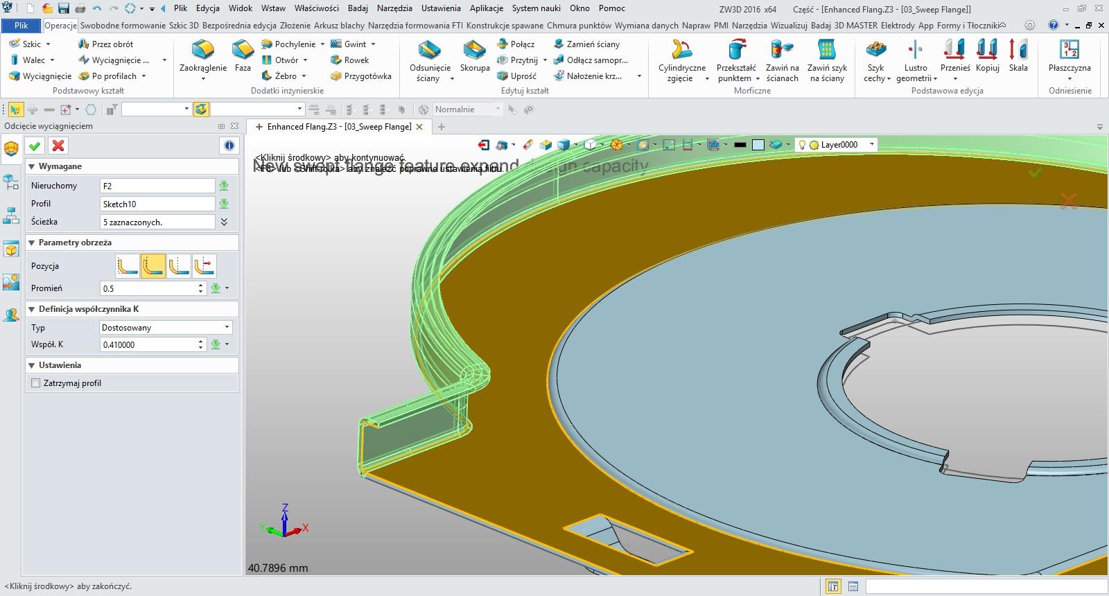 Wyciągnięcie odgięcia po ścieżce arkuszy blach w ZW3D CAD/CAM