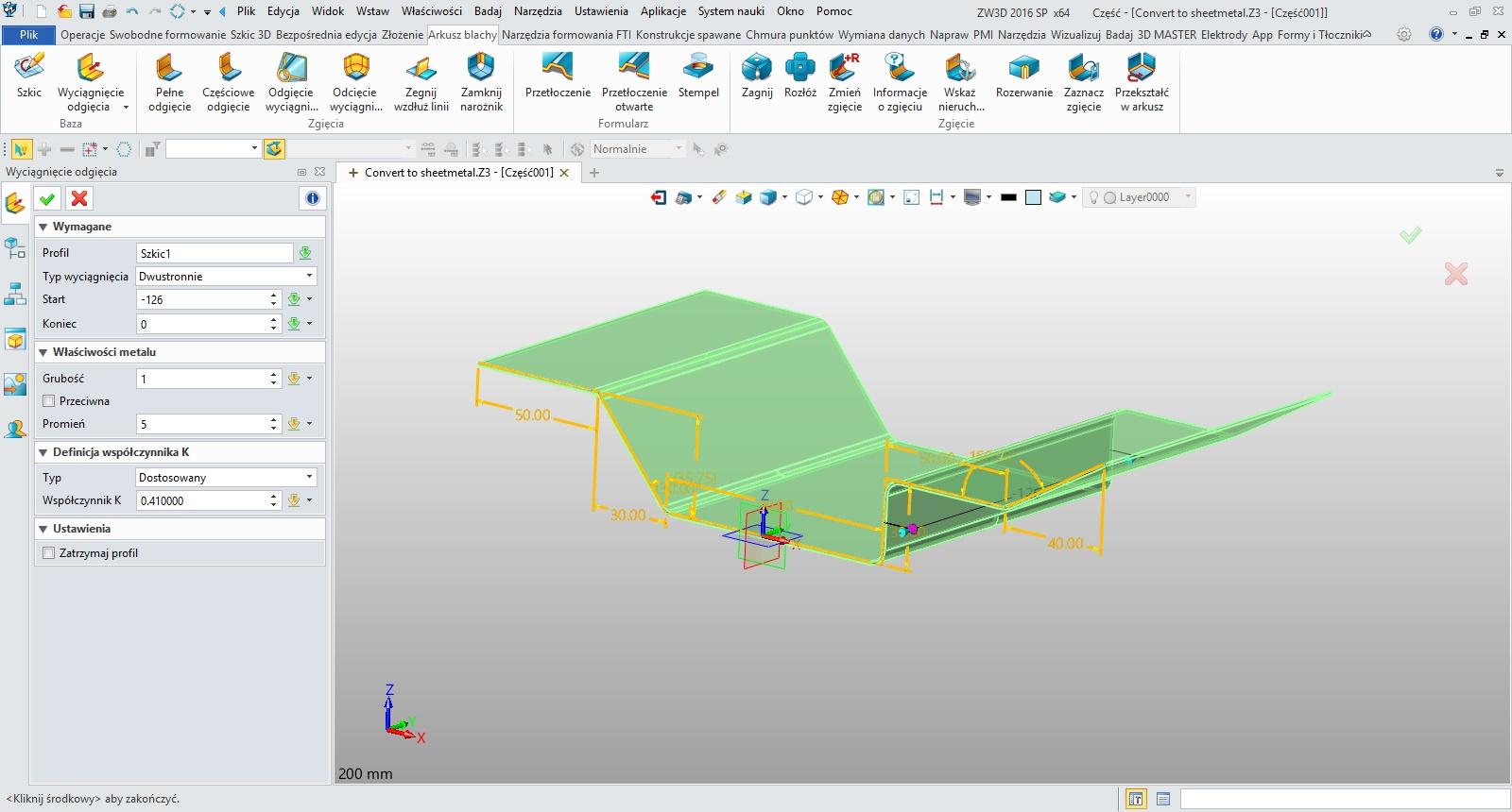 Arkusze blach, wyciągnięcie ze szkicu w ZW3D CAD/CAM