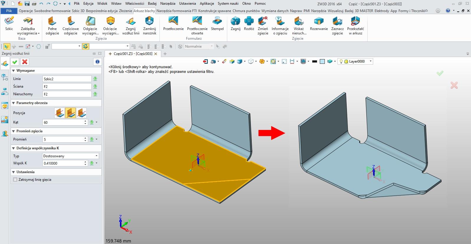 Arkusze blach, zagięcie wzdłuż linii w ZW3D CAD/CAM