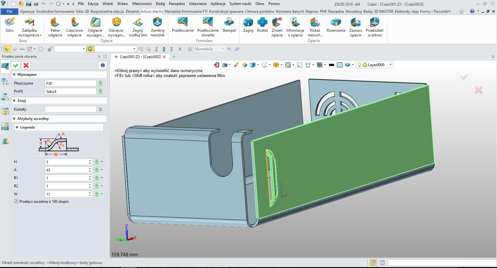 Arkusze blach, tworzenie żaluzji w ZW3D CAD/CAM