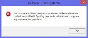 Błąd systemu przy uruchamianiu programu CAD