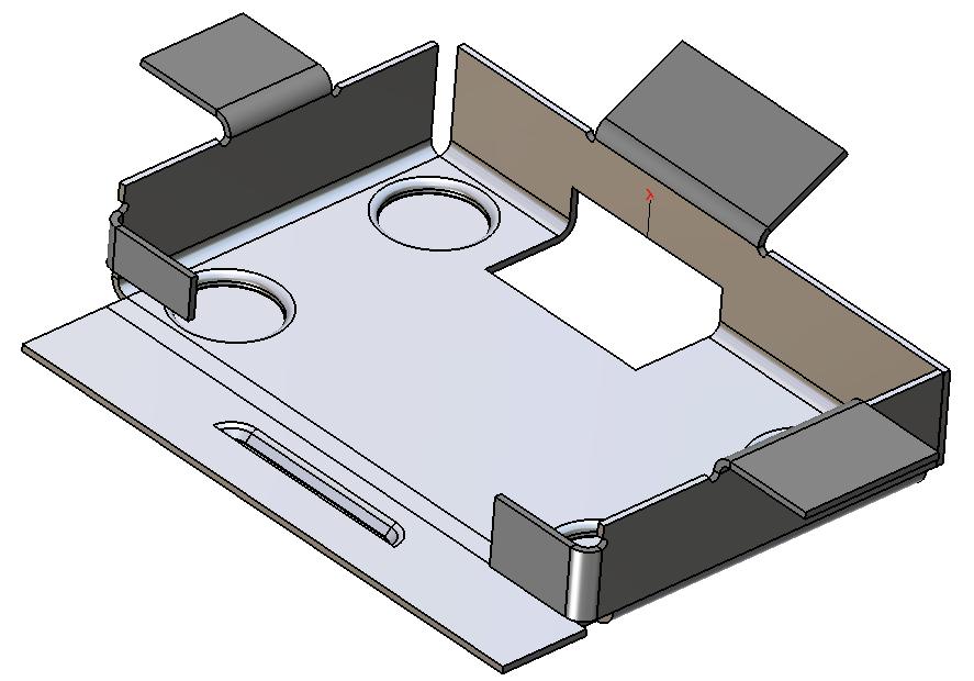 Model 3D elementu blaszanego w ZW3D CAD/CAM, złożenia