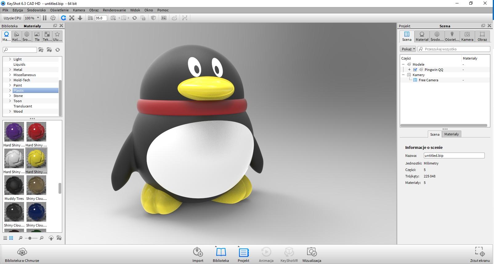 Pingwin 3D zaprojektowany w KeyShot
