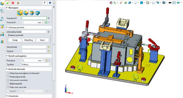 Podłączone okno operacji ZW3D CAD/CAM 2019