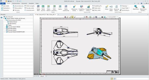 szkicowanie i tworzenie dokumentacji 2D w ZW3D CAD/CAM