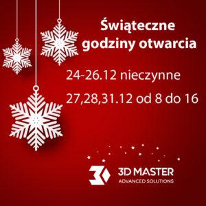 3D MASTER - świąteczne godziny otwarcia